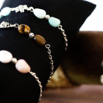 bracelets en amazonite oeil de tigre et opale rose par écrin de pierre