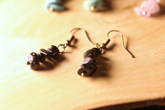 boucles do'reilles totem ecrin de pierre amethyste obsidienne
