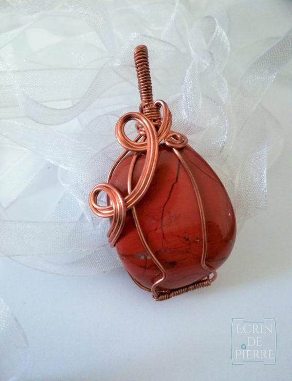 ecrin de pierre pendentif jaspe rouge et cuivre